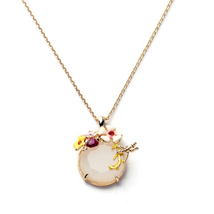 2016 Известная Марка Ювелирных Изделий Les Стрекоза цветок божья коровка gem ожерелье, ювелирные эмали ожерелье, нереиды ожерелье