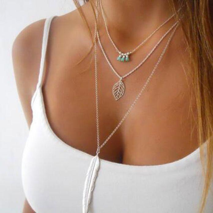 2016 Женская Мода Многослойные Нерегулярные Кулон Серебряная Цепь Перо Ожерелье