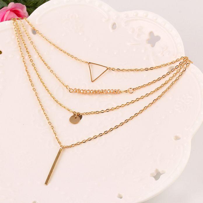 Новинка простой многослойные золотые цепочки треугольник бар ожерелье-бесплатная для женщин ювелирные изделия H0286