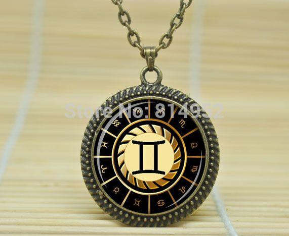 1 шт. близнецы ожерелье близнецы кулон знак зодиака подвеска, Созвездие украшения из стекла кабошон NecklaceA1830