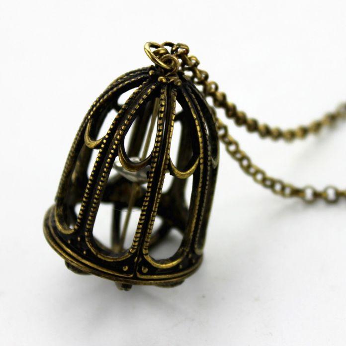 Бесплатная доставка 2015 ретро клетка для птиц ожерелье MS сплава ожерелье банкет