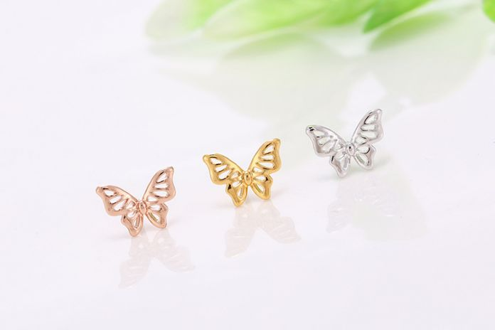 Полые бабочка стерлингового серебра 925 серьги стержня для свадьбы ювелирные изделия класса люкс женщины роскошные прекрасные милые леди девушки серебряные серьги
