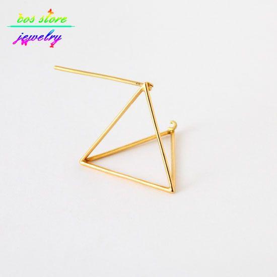2015 простота 14 К золото / серебристый / черный медь современная минималистский 3D треугольная пирамида куб коты серьги для женщин