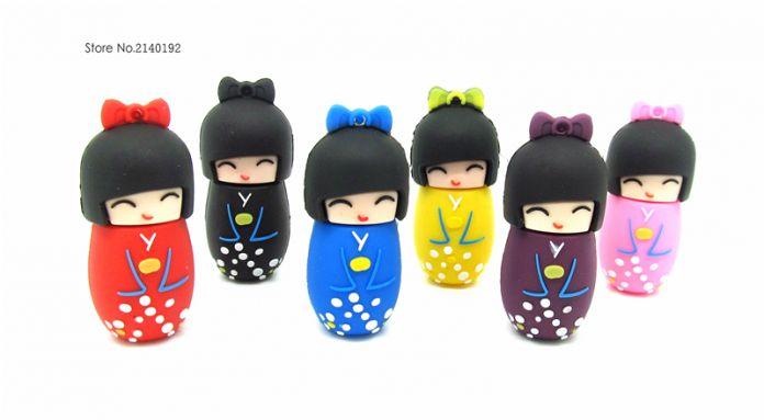 Гейша японская девушка usb flash drive Pen Drive 4 ГБ 8 ГБ 16 ГБ 32 ГБ memory stick Флешки мини подарок реальная емкость красочный