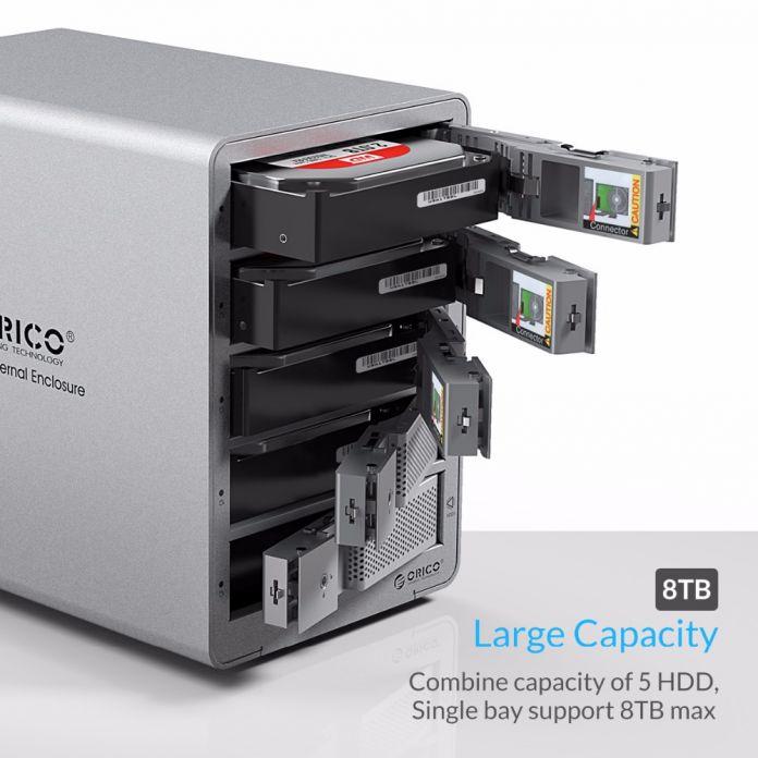 ORICO 9558U3-SV 5-бэй 3.5 ''USB3.0 ESATA HDD Корпус HDD Док-Станция Корпус для Пк (Серебро)