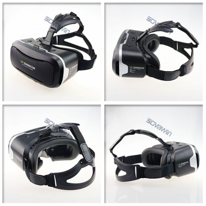 2016 Кожа Shinecon 2.0 ii 3D VR VR Очки Виртуальной реальности Гарнитура Картон Голову Горе для 4.7-6' Mobile + Mocute контроллер