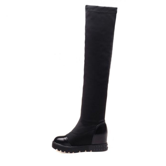 ANMAIRON Большой Размер 34-43 Новые Моды для Женщин Сапоги Круглый Носок сексуальная Зима Скольжения На Протяжении Колено Высокие Сапоги Женщины Платформа сапоги