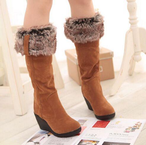 2016 Новых Мужчин сапоги зимние каблуки колено высокие сапоги теплые хлопка мягкой обуви женщин высокие клинья замши снега сапоги ba45