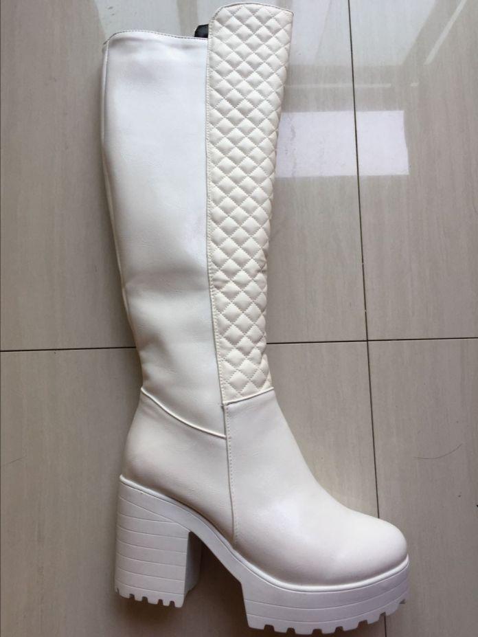 Размер 34-43 Ботинки Женщин Осень Зима Новый Кутюр Сексуальная колено Высокие Сапоги Молния Длинные Сапоги Толстые Высокие Каблуки платформы обувь