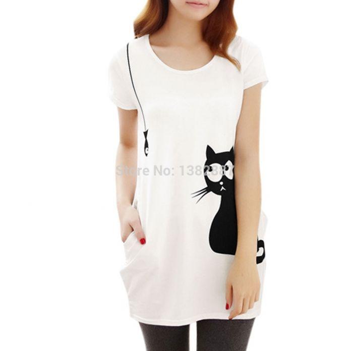 Женщина шея с коротким рукавом кошка принты свободная туника широкий белая скидки до 40