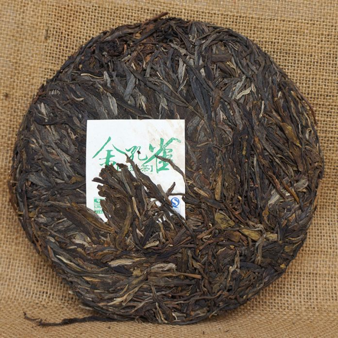 [ Грандиозность ] золотой павлин Pu'er чай павлин 357 г * 2008 юньнань древних деревьев пуэр сырье шэн пуэр пуэр пу эр чай 357 г