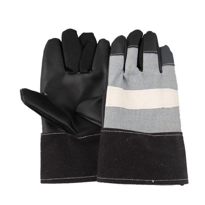 Более износостойкости вырезать сварщик промышленности охрана труда перчатки Черные кожаные перчатки Кожаные Перчатки Сварки