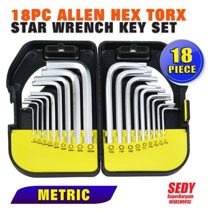 2016 Новый 18 ШТ. Метрическая Комбинация Аллен Шестигранной Torx Звезда Ключ Набор Ключей