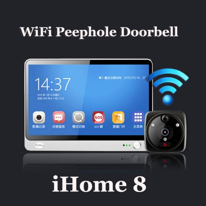 Ihome 8 беспроводной видео-телефон двери смарт wi-fi глазок дверной звонок 7 дюймов TFT емкостный сенсорный жк-экран