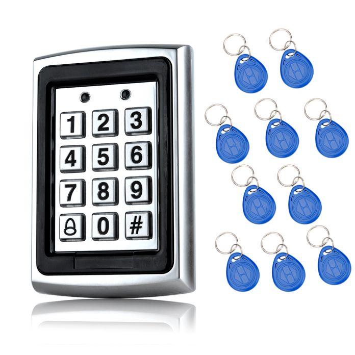 Бесплатная доставка 125 КГц Водонепроницаемый RFID Контроля Доступа Металлическая клавиатура с 10 Брелоков для Двери Системы безопасности