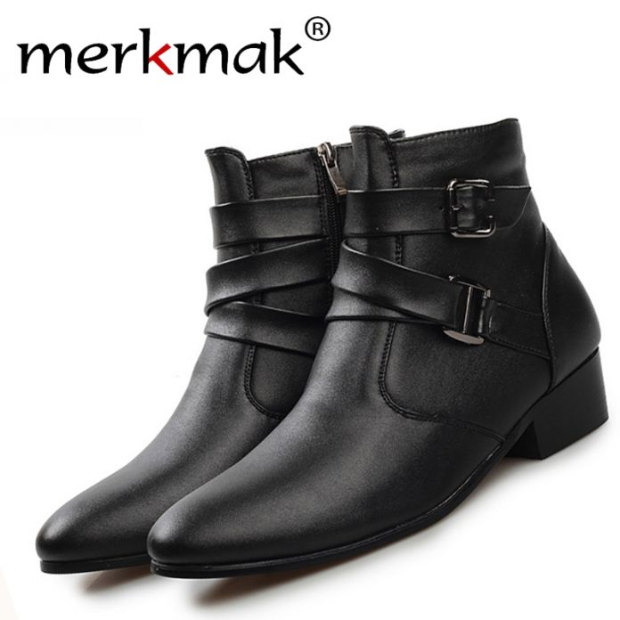 Новый 2016 британский стиль случайные люди осень ботильоны на каблуках мода острым носом Мартин Сапоги Кожаные Сапоги Мужчины Обувь мужчины LS129