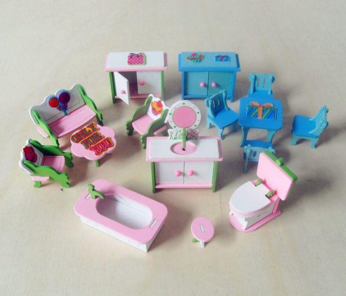 Деревянный Розовый Кукольный Дом Мебель Детей Притворяться, Играть В Игрушки Для Девочек Miniature Номера Подарки Для Детей Dollhouse Миниатюрные Куклы