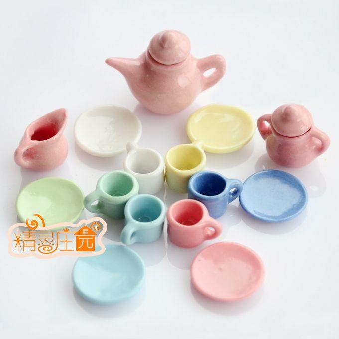 1:12 Кукольный Дом Посуда Миниатюрные Фарфоровые Чайные Сервизы Мини Чайник Кофе Плита Миниатюрные Чашки Чая Фарфора Столовая Посуда 15 шт.