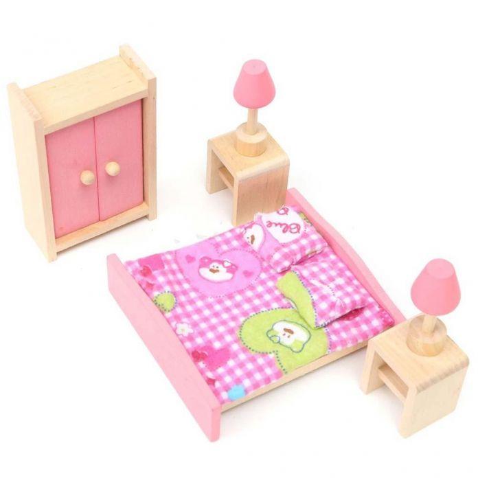 Деревянная Спальня Кукольный Дом Миниатюрная Мебель Для Детей Дети Игрушка в Подарок Горячая