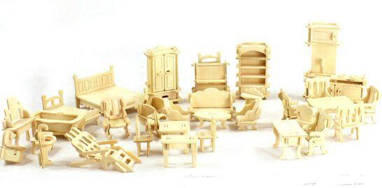 34 шт./компл. DIY 1:12 кукольный дом мини-миниатюрная мебель образования кукольный мебель игрушка 3d головоломка модель строительство игрушки