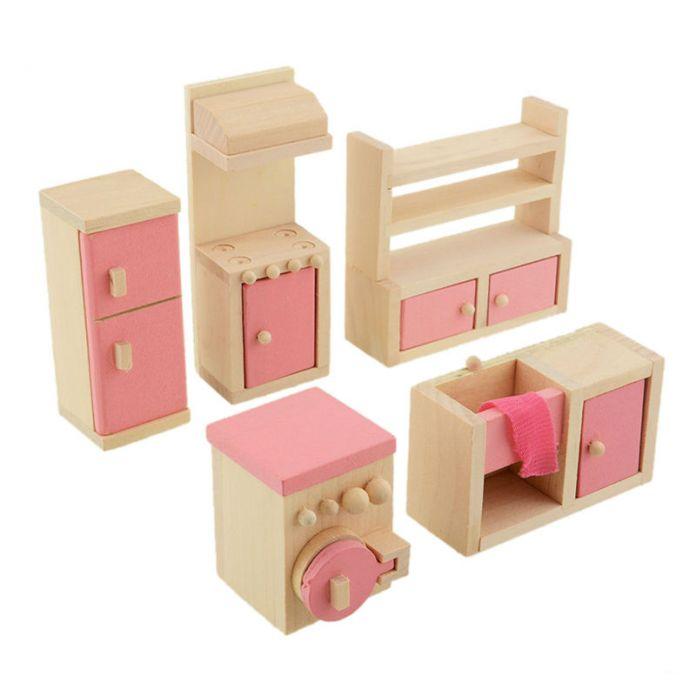 Деревянная Кукла Кухонный Гарнитур Мебели Dollhouse Миниатюрные Для Детей Ребенка Играть В Игрушки Развивающие Игрушки Деревянные Игрушки Детские Игрушки Подарок