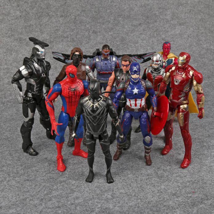Гражданской Войны Мстители капитан Америка PVC Фигурки Железный Человек Человек-Муравей Hawkeye Сокол Баки Видение Паук Военная Машина
