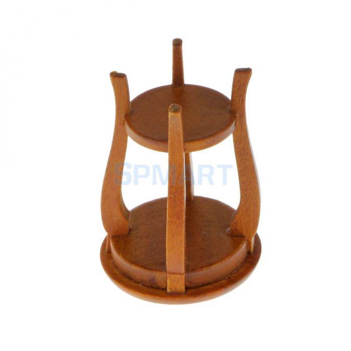 Кукольный домик Миниатюрный Мебель Орех Деревянный Круглый Стул Кухонный Столик Сиденья масштабе