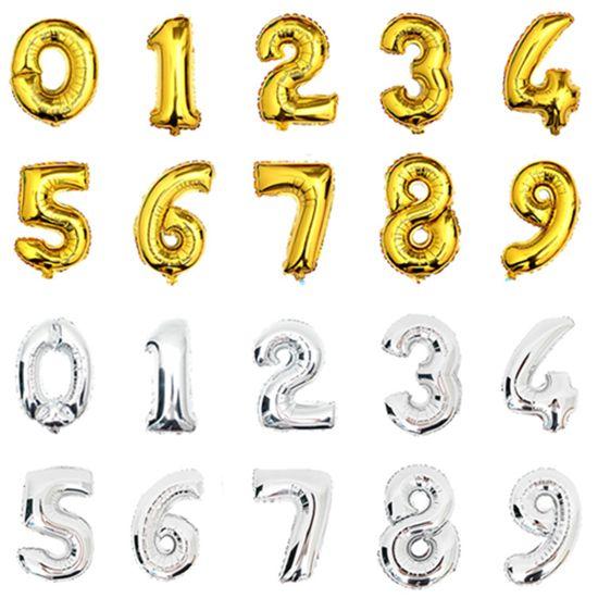 32 inch фольгированные шары Золото Серебро Гелием Воздушный Шар большой свадебный счастливые воздушные шары День Рождения украшения номер гигантский воздушный шар Партия воздушный шар