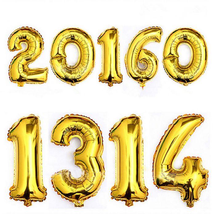 1 шт./лот 16 inch Фольги Золотой И Серебряный Номер Шар Поплавок Воздушные Шары День Рождения Свадьба Украшения Шар Дети Надувные игрушка