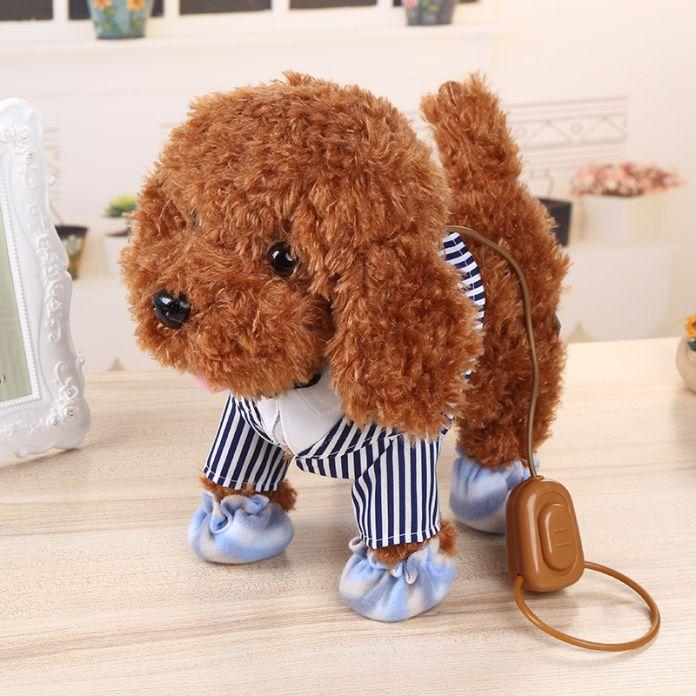 Детский Праздник День Рождения Подарки Фигурку Электронных Домашних Животных Робот игрушки Для Собак Кора Стоять Ходить Плюшевый Собак Brinquedos Plsuh собака