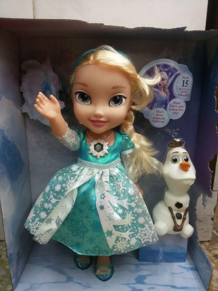 34 СМ Мультфильм Эльза Говорит Петь отпустить Люминесценции Олаф ПВХ Игрушки Мягкие Мягкие Куклы Детям Подарки