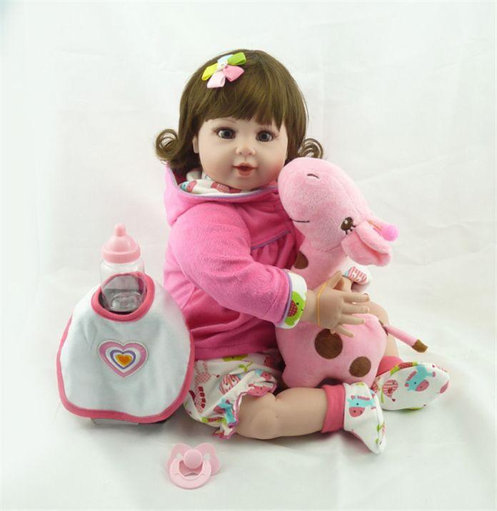 """20 """"bebe куклы reborn игрушки мягкие ткани тела силикона возрождается младенцы розовый комплект одежды девушка куклы игрушки xmas подарков bonecas"""