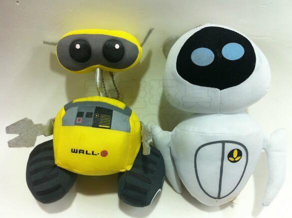 2016hot продавать - робот и ева плюшевые игрушки 18 - 20 см стене е мягкая игрушка, Классический аниме американский мультфильм лучший подарок для ребенка 707