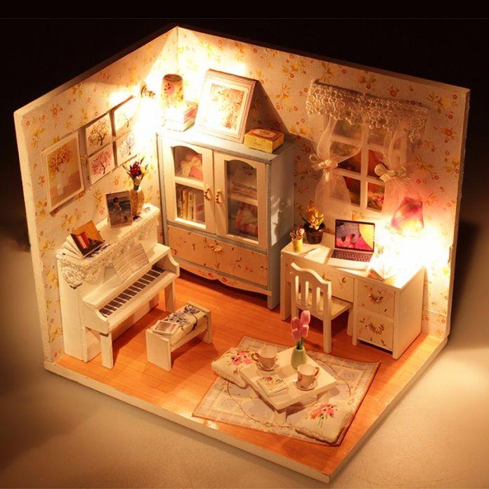 Hoomeda DIY дерева кукольный домик миниатюрный фортепиано кукольный дом с из светодиодов + мебель + крышка сборка Handworked игрушки для детей