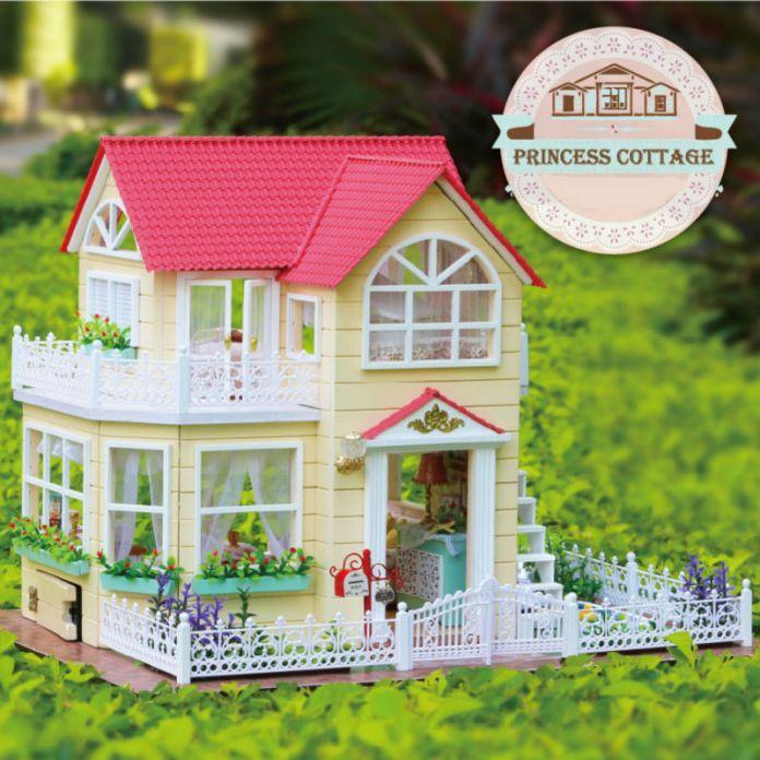 Поделки миниатюрный дома включают мебель 3D деревянные головоломки модель здания кукольный домик для подарки на день рождения игрушки - принцесса коттедж