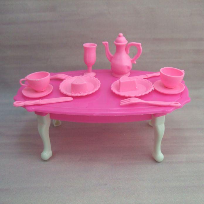 Бесплатная доставка девушка подарок на день рождения обеденным столом для куклы барби аксессуары игрушка в подарок для девочки