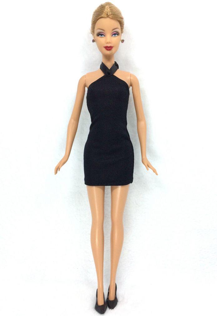 Н . к . 12 шт. = 6 черные платья + 6 черный каблуки кукла мода одежда ручной работы наряд для куклы барби-арт лучший подарок для ребенка