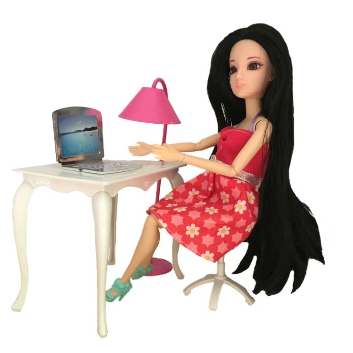 Куклы мебель стол + лампа + ноутбук + стул аксессуары для Куклы Барби, девушка играть дома
