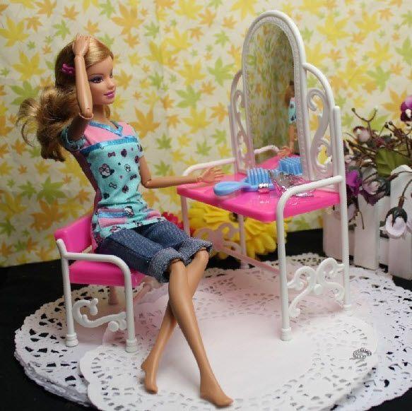 Хороший Подарок забавные игрушки для девочки играют дома игрушки комод туалетный столик со стульями кукольный домик Мебель для барби кукла