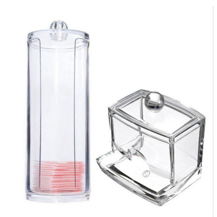 Круглый контейнер футляр для хранения макияжных ватных тампонов