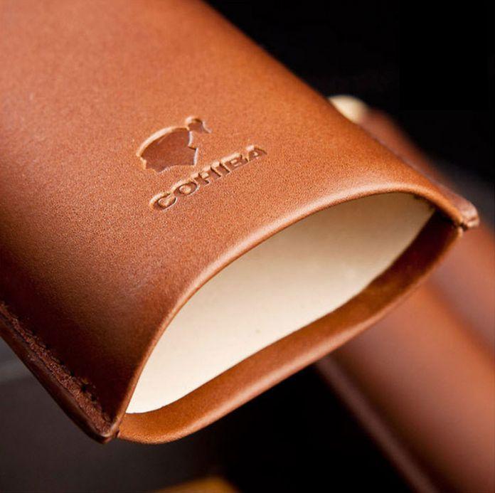 145 мм * 63 COHIBA коричневый натуральной кожи портсигар чехол держатель 2 труба