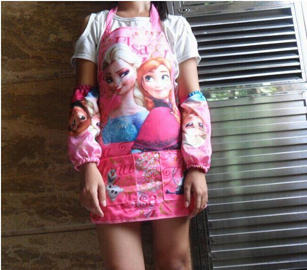 Бесплатная доставка детские водонепроницаемый фартук, студенты рисование одежда фартуки установить ( фартук + нарукавник ) дети фартуки