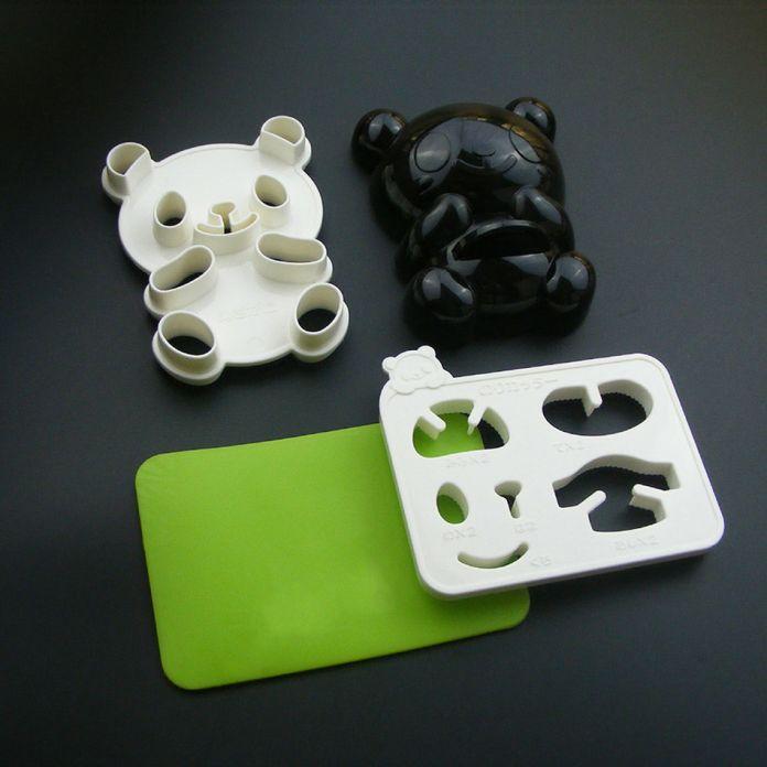4 в 1 Baby Panda Плесень Райс Mold Onigiri Shaper и Сухой Жареный Водоросли Резак Кухонный Гарнитур Инструменты для Литейной Формы