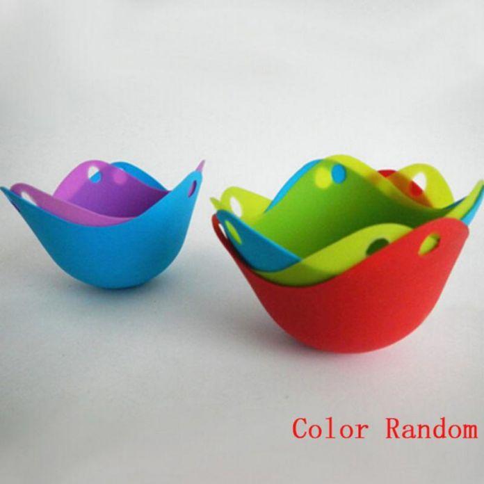 Случайный цвет силиконовые яйцо браконьер кук браконьерством бобы кухня посуда выпечки пашот кубок для микроволновой холодильник выпечки печь 1 шт.