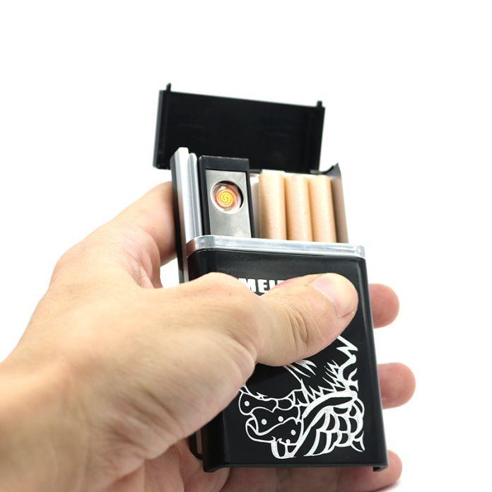 Многофункциональный Металлический Портсигар с Аккумуляторная Электронная Зажигалка портсигар