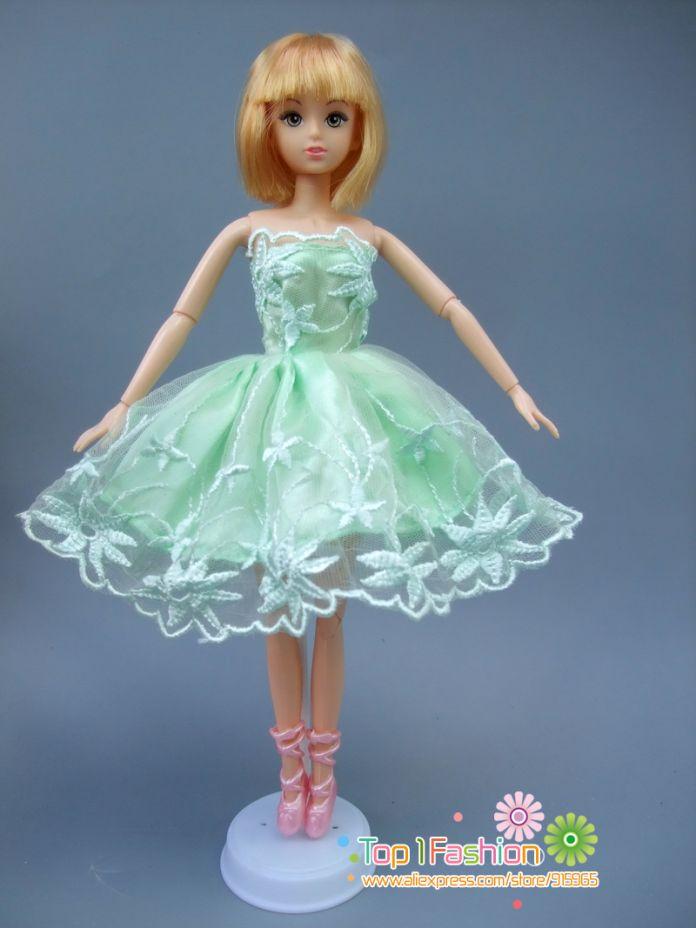 1 Шт. зеленый Туту Балерина Юбка Для Куклы Барби короткие Мини платье маленький Подарок для девочки