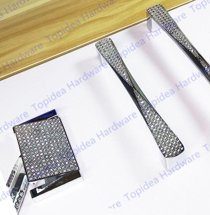 Кристалл серебристый 64/96/128/160 мм мебели сплава цинка ручки ручки тянуть современный стиль для шкафов двери ящики шкафов