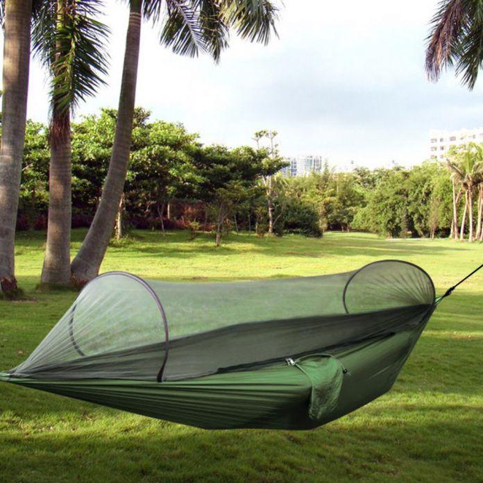 Кемпинг Гамак Палатка Всплывающие Москитная сетка Сверхлегкий Прочный Парашют Ткань Гамак для Пляж Туризм Путешествия Backyard