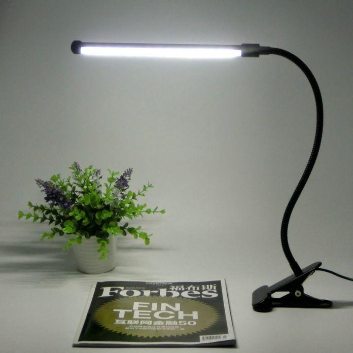 Led защита Глаз Два уровня яркости диммер стол чтение Настольная Лампа с металлическим Зажимом, 1 шт./лот