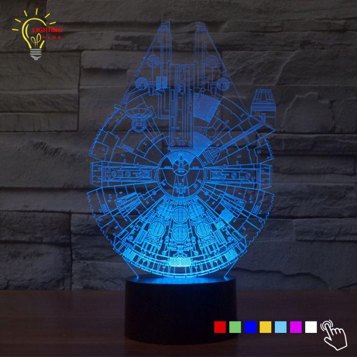 Изменение цвета 3D Ночь Светодиодная Лампа Звездные войны Тысячелетний сокол СВЕТОДИОДНОЕ Освещение Home Decor Настольная Лампа Ночник для Детей подарок
